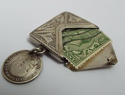Beautiful English Antique 1903 Solid Sterling Silver Envelope Stamp Case Holder