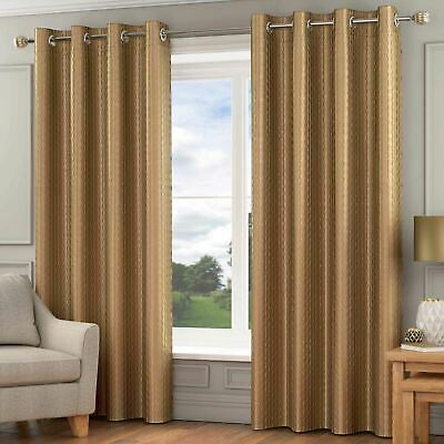 Madison Lined Eyelet Curtains Luxury Faux Silk Ready Made Ring Top Pairs Gold