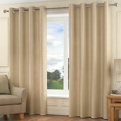 Madison Lined Eyelet Curtains Luxury Faux Silk Ready Made Ring Top Pairs Natural