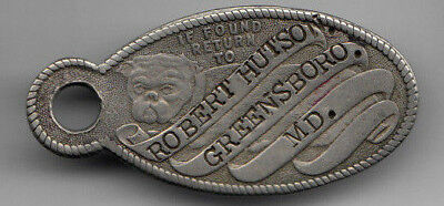 Greensboro MD ID key tag - Robert Hutson - Bull Dog - stamped by cripple in Ohio