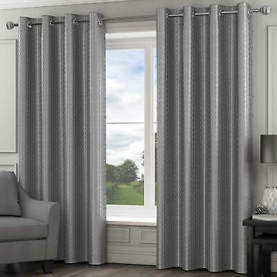 Madison Lined Eyelet Curtains Luxury Faux Silk Ready Made Ring Top Pairs Silver