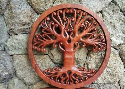 Tree Of Life Wall Sculpture Panel Hand Carved Wood Mahogany Balinese