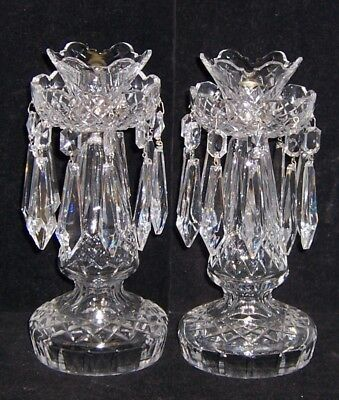 Waterford Ireland Crystal Pair Of Candlesticks 10 Inches Tall With Prisms