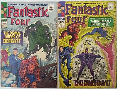 """1967. TWO x Early """"FANTASTIC FOUR"""" Marvel comics #'s 58 and 59. VG."""