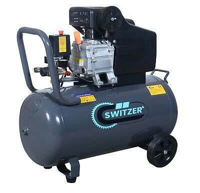 SwitZer Air Compressor 50L Litre LTR 2.5HP 8 BAR 230V 9.6CFM Wheel AC001 Grey