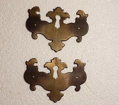 Pr. Matching Decorative Vintage Solid Brass Keyhole Covers Escutcheons (#2010Hb)