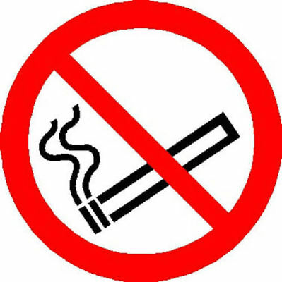 No Smoking double sided window stickers 85mm diameter various quantity options