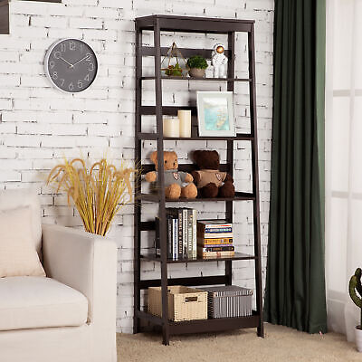 5-Tier Bookcase Leaning Wall Shelves Bookshelf Ladder Rack Storage Organization