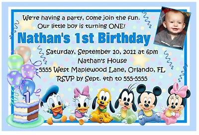Mickey Mouse Disney Babies 1st Birthday Invitations