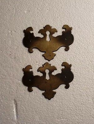 Pr. Matching Decorative Vintage Solid Brass Keyhole Covers Escutcheons (#2010Hc)