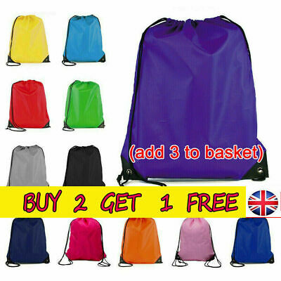 School Drawstring Bag Sport Gym Sack Swim PE Kit Shoe Sports Casual Backpack UK