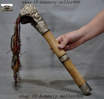 """15"""" Collect Rare Tibet Silver inlay Old Cattle Bone Ritual Kangling Trumpet Horn"""