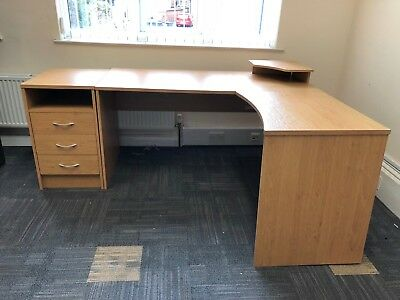 Corner office desk with drawer pedestal - Office Clearance More Available