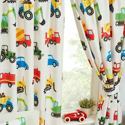 "Trucks & Transport Lined Curtains 54"" Drop Kids Boys Bedroom Vehicles"