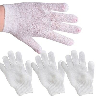 4x WHITE EXFOLIATING GLOVES Bath/Shower Cleansing Smooth & Soft Face/Legs/Body