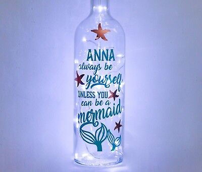 Light Up Wine Bottle, Mermaid Gifts For Girls, Her, Personalised, Bedroom Decor