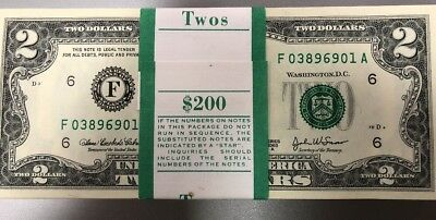 $200 $2 Bills 2003-A Consecutive Numbers GEM UNCS Wrapped In Band