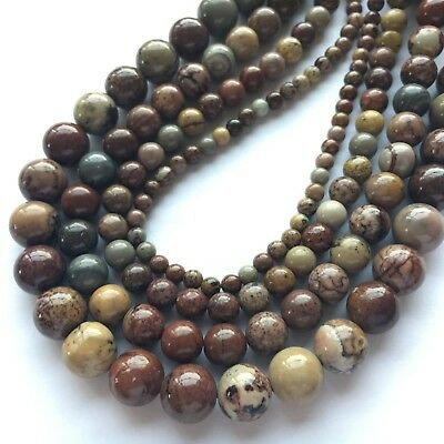 Artistic Jasper Good Quality Natural Round Gemstone Bead 4/6/8/10mm 15''L