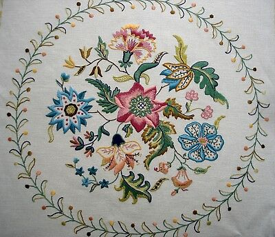 Vintage Hand Embroidered Unframed Large Linen Picture Jacobean Flowers