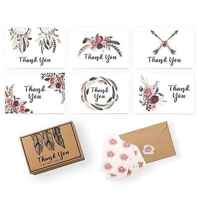 Xo, Fetti Rustic Thank You Cards - Baby Shower, Wedding, Business | Set Of 36 Bo