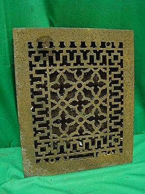 ANTIQUE BLACK CAST IRON HEATING GRATE UNIQUE ORNATE DESIGN 11.75 X 9.75 sf