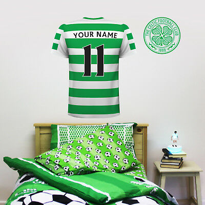 Official Celtic FC Shirt PERSONALISED NAME & NUMBER Football Wall Sticker Mural