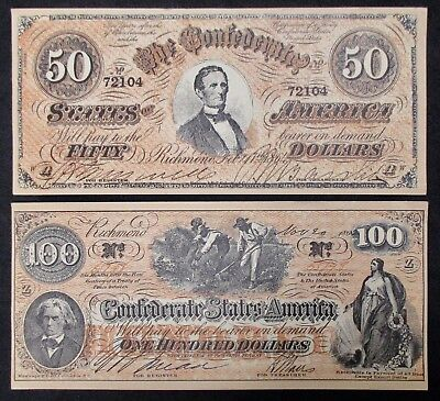 """$50 + $100 Confederate Advertising Notes / """"Peoples Bank - Bloomington, IL"""""""