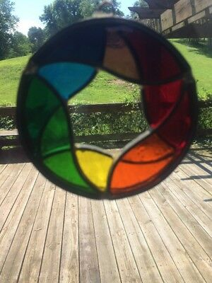 Vintage Stained Glass 3 3/4 Round star Sun catcher Handmade Colorful Multi Color