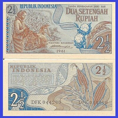 Indonesia P79, 2 1/2 Rupiah, woman picking cotton / corn plants 1961, UNC