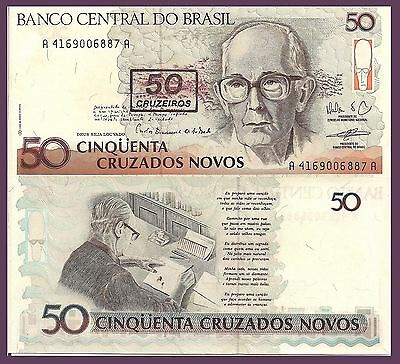 Brazil P223, 50 Cruzeiros, Poet Carlos Andrade andrade writing poetry 1990 UNC