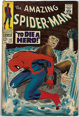 "1967. ""AMAZING SPIDERMAN"". Vintage Marvel comic Vol.1 #52. Good."