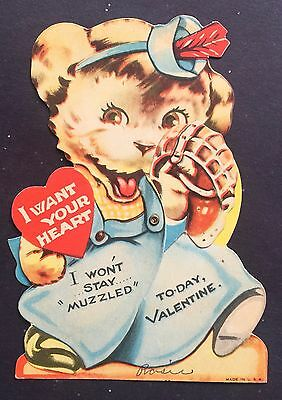 Vintage Valentine's Day Valentine Card Cute Puppy Moveable Hand / Heart