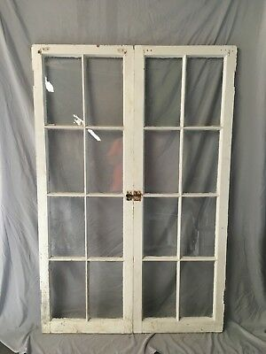 Pair Antique 8 Lite Casement Door Windows Cabinet Shabby Vtg Old 21x62   21-18C