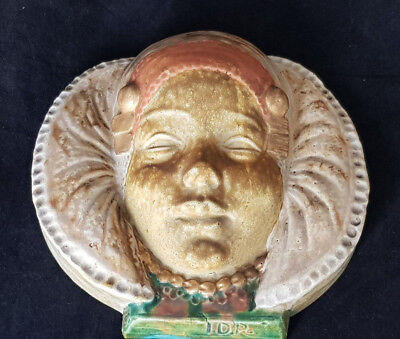 Isidore De Rudder portrait Plaque Belgium  for Emile Muller Paris Female Mask