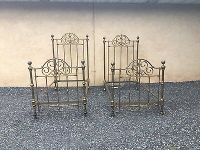 Antique Pair Of Fancy Victorian Brass Twin Beds