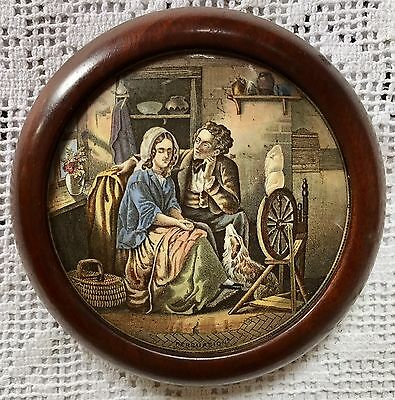 "Prattware Round Pot Lid ""PERSUATION"" In A Decorative Round Wood Frame c1880"