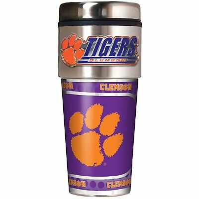 Clemson Tigers NCAA Stainless Steel 16oz Travel Tumbler Mug with Emblem
