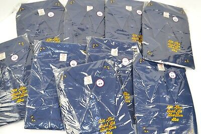 Vintage 1970's Lot of 9 Butterfly Collar Full Button Nylon Shirts Navy Blue NOS