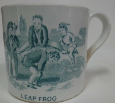 Children's China Pottery Mug Cup circa 1850 Leap Frog