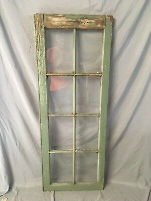 Antique 8 Lite Casement Door Window Cabinet Shabby Vtg Old 20x54   24-18C