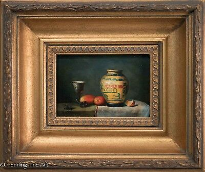 Beautiful Still Life Oil Painting with Fruit, Silver Goblet & Chinese Porcelain!