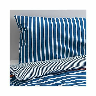 IKEA SKAMTSAM Baby Kid Crib Bed Duvet Cover & Pillowcase set Blue white stripes