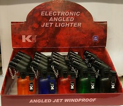 ANGLED JET FLAME LIGHTER Refillable Tank Windproof Turbo Flame NEW