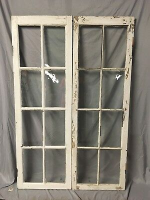 Pair Antique 8 Lite Casement Door Windows Cabinet Shabby Vtg Old 20x62   26-18C