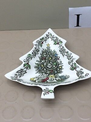 Johnson Brothers Merry Christmas Tree Shaped Serving Plate England Candy Dish