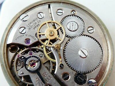 lemania Manual 15 jewels watch movement need service with dial for parts (W193)