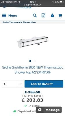 BNIB GROHE GROHTHERM 2000 Thermostatic Shower Mixer 1/2