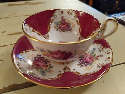 Royal Grafton Bone China Cup And Saucer With Gorgeous Florals & Gold! Burlington