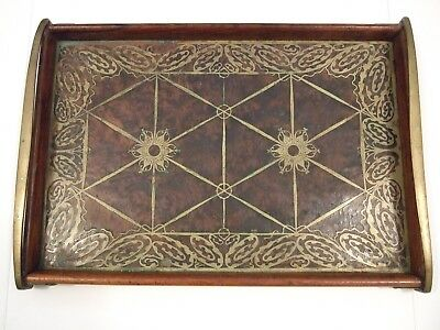 Antique Erhard & Sohne Germany Art Nouveau Serving Tray Brass Inlaid Burl