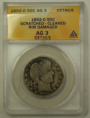 1892-O US Barber Silver Half Dollar 50c Coin ANACS AG-3 Details Scratched Clean
